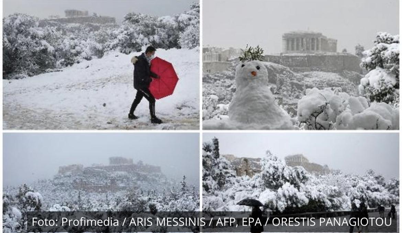 OVO SE RETKO VIĐA: Akropolj beo od snega, a ovako izgleda smena straže po klizavici! Kolaps u gradu! (VIDEO)