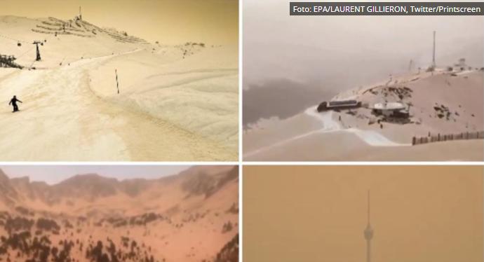 U EVROPI KAO NA MARSU: Zbog peska iz Sahare, nebo i sneg dobili neobičnu boju (VIDEO)