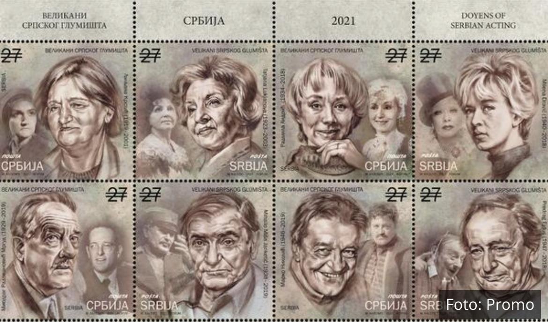 OSAM VELIKANA: Milena Dravić, Miša Janketić, Peca Ejdus i Marko Nikolić zavšili na poštanskim markama