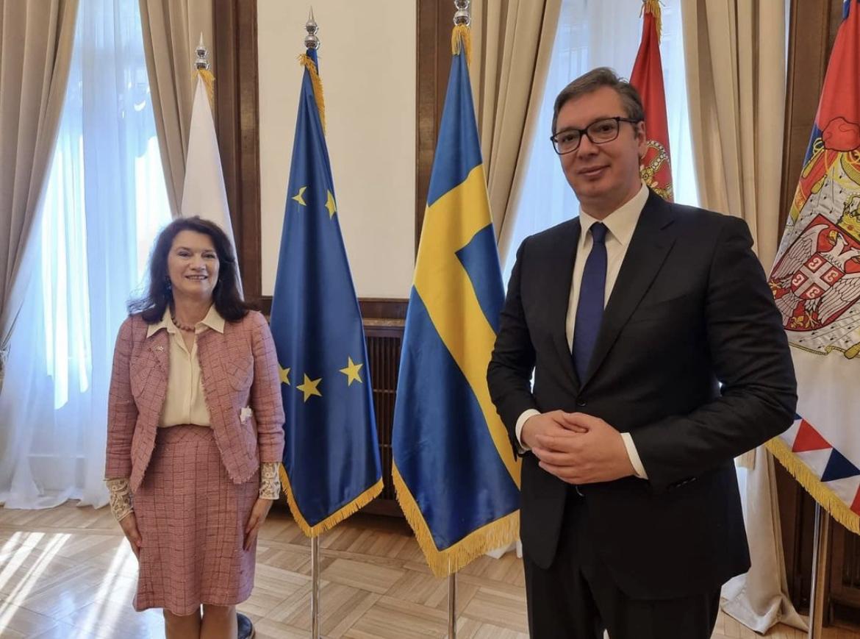 SUSRET NA ANDRIĆEVOM VENCU: Vučić se sastao sa švedskom šeficom diplomatije