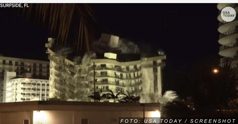 Srušeni ostaci urušene zgrade u Majamiju uoči dolaska tropske oluje (VIDEO)