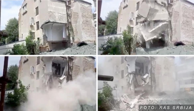 STRAVIČNO! TRENUTAK NOVOG URUŠAVANJA ZGRADE NA VRAČARU Čulo se pucketanje, a onda se obrušio još jedan sprat (FOTO, VIDEO)